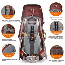 60l Internal Frame Long Haul Climbing Bag CR Carrying System Terylene Material Unisex Travel Camping Outdoor Sport Backpack
