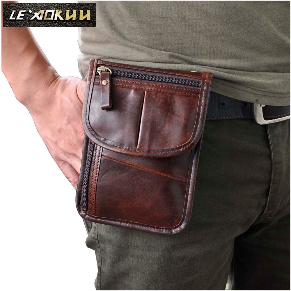 Real Leather Men Casual Multifunction Small Messenger One Shoulder Crossbody Bag Waist Belt Bag Cigarette Case Phone Pouch 8301