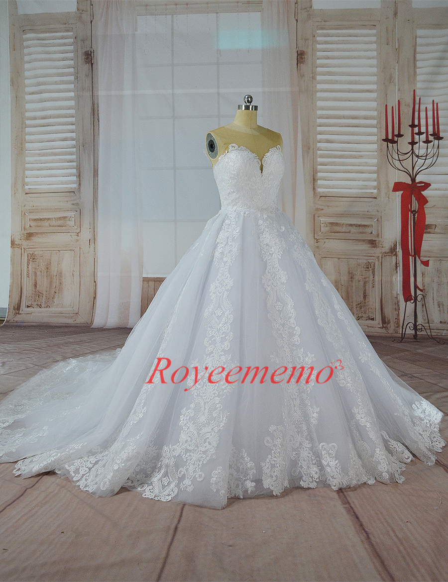 2017 hot sale skin color tulle top special lace design Wedding Dress ...