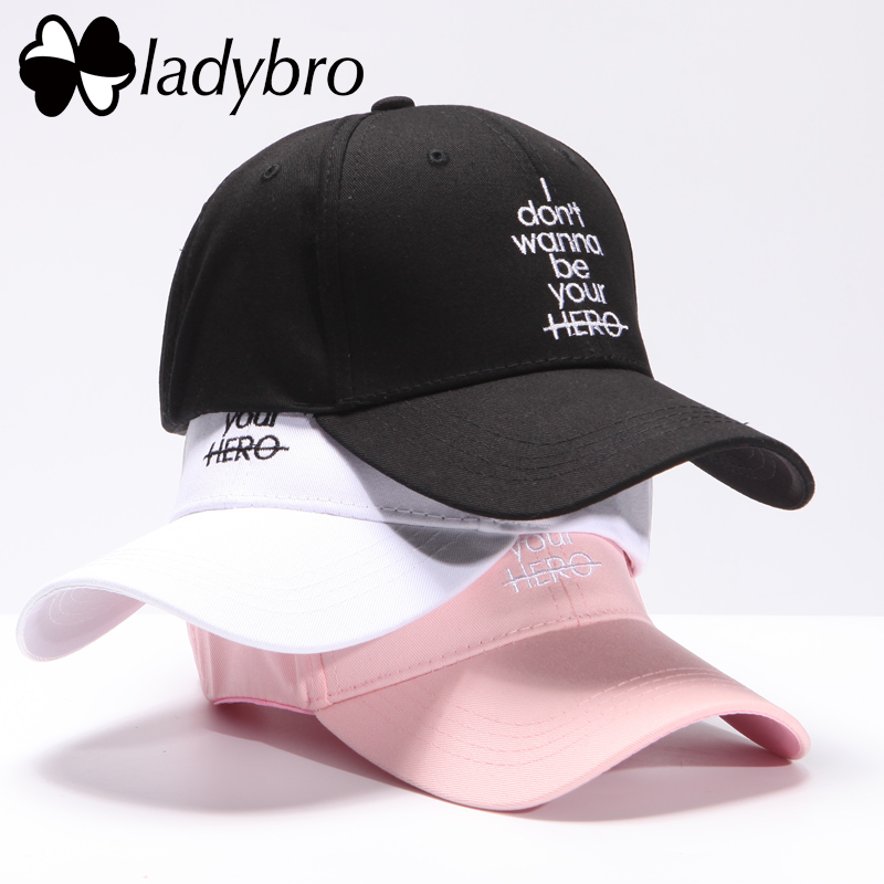 Ladybro Women Hat Cap Men Casual Letter I don't wanna be your HERO Baseball Cap Snapback Hats For Female Dad Hat Hip Hop Bone 2017 winter hat for women men women s knitted hats wrinkle bonnet hip hop warm baggy cap wool gorros hat female skullies beanies