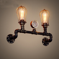 industrial retro wall lights creative iron sconces double head water tube shape wall lamps bar restaurant bedroom lighting