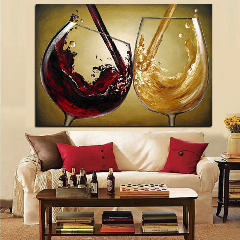 3D Hand Painted Canvas Wine Oil Paintings Red Wine Glass Modern Abstract  Wall Art Picture Poster ...