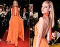 Mais recente projeto 2015 Backless v-neck A - linha nova longo celebridade vestidos Sexy C1003 tapete vermelho moda Robe de soirée verão Popular