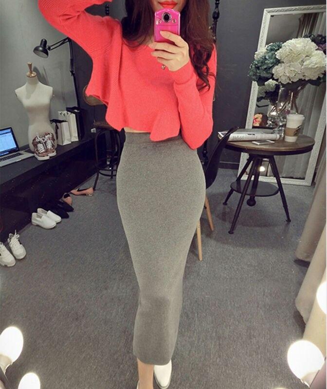 2015 Winter Korean Crop Tops and Slit Pencil Skirt Set Women's Set ...