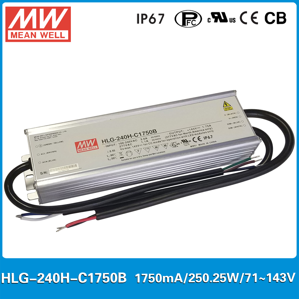 Original Meanwell HLG-240H-C1750B constant current LED driver 1750mA 71~143V 250W dimming high power supply PFC IP67