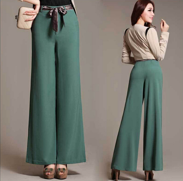 0362dc4117911 New fashion Women Palazzo Pants High Waist Wide Leg Pants female Casual  Plus size Linen Pants Women Trousers