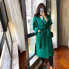 Women'S Wool Coats 100% Double Side Wool Overcoat Slim And Thin 2018 Fashion Winter Long Cashmere Outerwea Green(China)