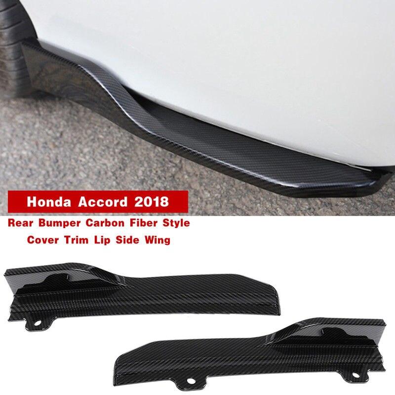 2Pcs Carbon Fiber ABS Rear Bumper Cover Trim Lip Side Wing For Honda Accord 2018 Exterior