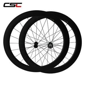 Image 3 - CSC Carbon Road Wheels 38mm 50mm 60mm 88mm Tubular Clincher Carbon Aero Wheel U Shape R13 Hub CN or SAPIM CX RAY CX RAY Spokes