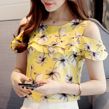 Women Off Shoulder Short Sleeve Print Floral Chiffon Tops