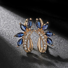 Hanreshe Blue Green Earrings Girl Horse Natural Zircon Stud Earrings for WomenRose Gold Wedding Party Gothic Jewelry Crystal(China)