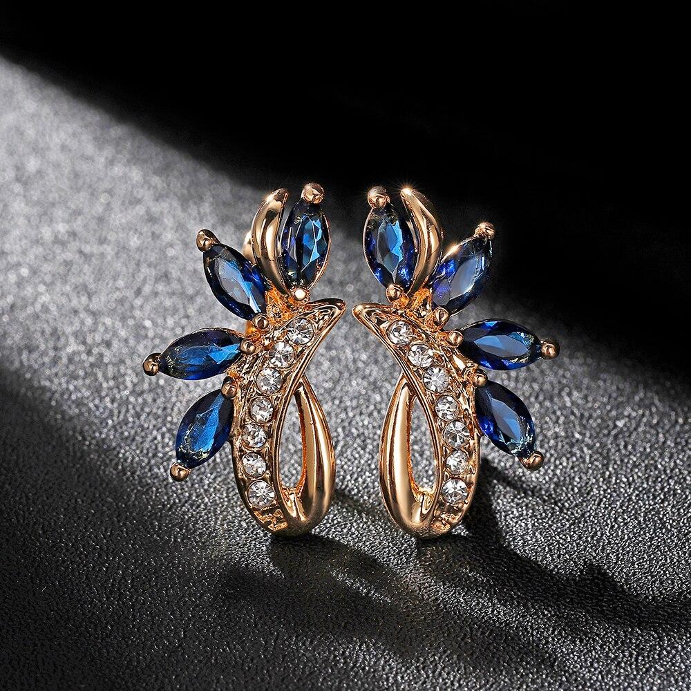 Hanreshe Mini Blue Green Earring Horse Natural Zircon Stud Earrings Wedding Party Gothic Cute Jewelry Crystal Women Gift