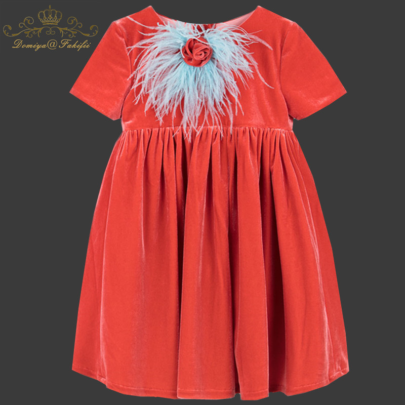 Vestidos Girls Autumn Dress 2018 Brand Feather Flower Princess Velvet Dress Children Costume for Kids Clothes Baby Dress 1-8T vestidos girls summer dress 2018 brand polka dot print princess dress children costume for kid clothes flamingo baby dress 2 14t