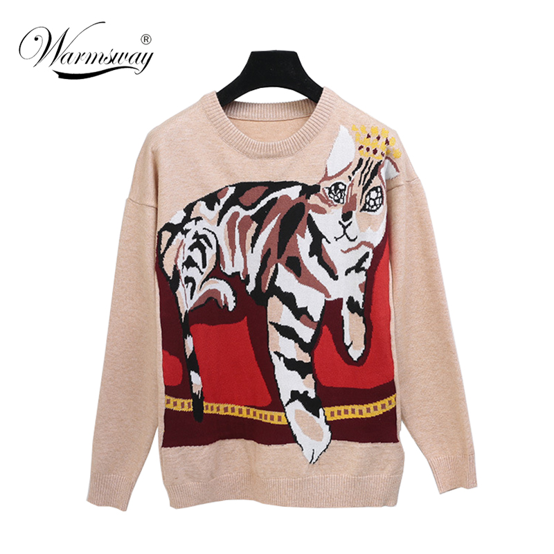 New Fashion Women Cat Jacquard Soft Sweater Loose Cute Thick Warm Long Sleeve Pullover Vintage Autumn Winter Cloth C-101