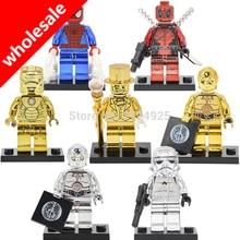 Wholesale 10pcs Mr Gold Figures Chrom C3PO Deadpool Stormtrooper Iron Spider Man Golden Darth Vader Building Blocks Bricks Toys