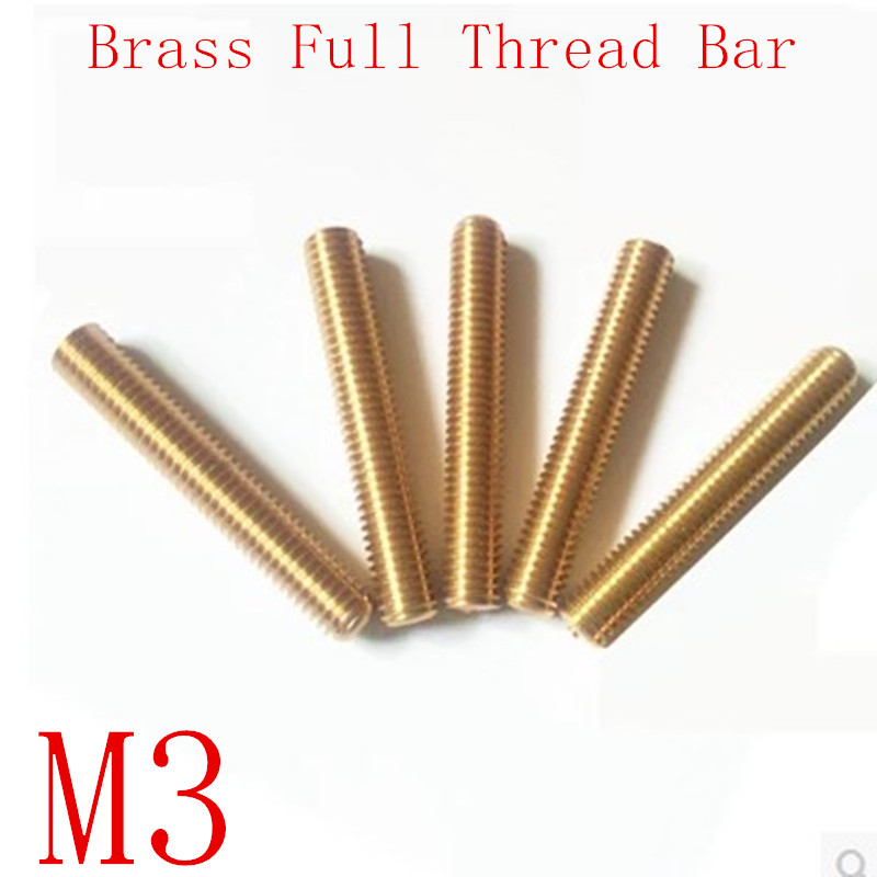 10pcs/Lot M3*20/25/30/35/40/45/50/55/60/65/70/75/80/85/90 Metric Brass Thread Rod Bar Copper Full Thread Stud