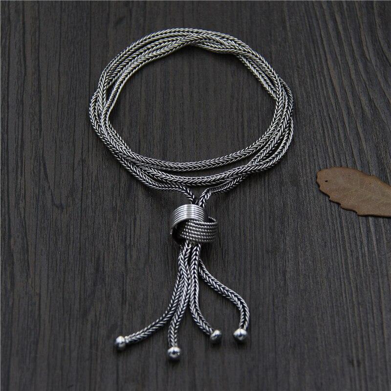C & R чистый 925 Серебряное ожерелье для женщин сплетенный свитер цепи кисточкой ручной тайский серебряный длинное ожерелье изящных ювелирные