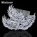 Minlover Top Crystal Silver Color Big Leaves Shape Comb for Women Rhinestone Wedding Hair Comb Bridal Tiara FS055