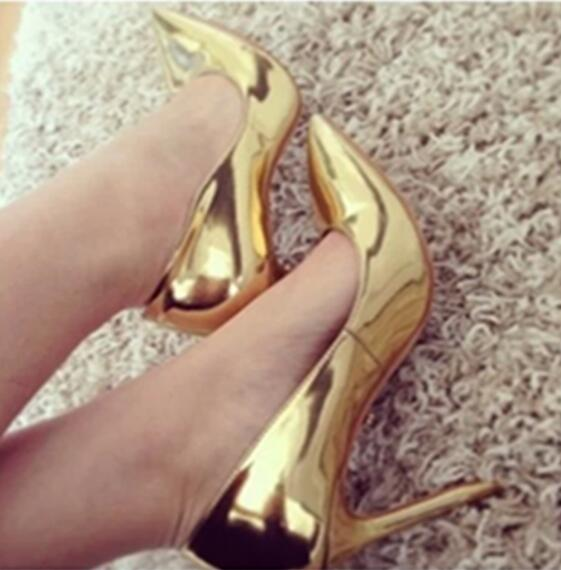 Woman In Leather On Pumps Gold Pointed Us69 Toe Stiletto Wedding 02017 Metallic High Slip Shoes Heels Women's Hot Heel Selling Sexy For v8n0wNOm