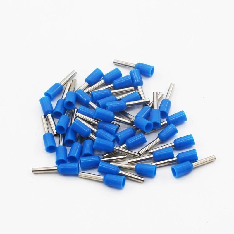 100 шт./упак. E0508 E7508 E1008 E1508 E2508 изолированных кабельных наконечников клеммной колодки конец шнура Разъем провода электрические обжимной Терминатор - Цвет: Синий