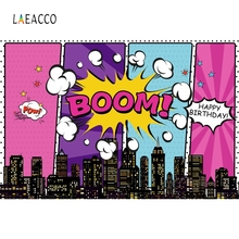 Laeacco Comics City Buildings Clouds Boom Pow Birthday Photography Backgrounds Customized Photographic Backdrop For Photo Studio
