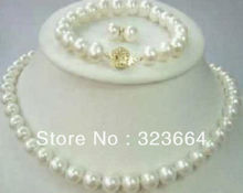 Hot Sell!  Natural AAA 9-10mm White Freshwater Pearl Necklace Bracelet & Earring Sets