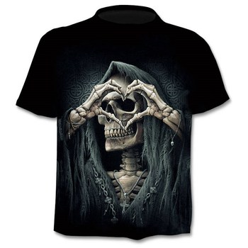 New Mens Skull T shirts Brand punk  style finger skull 3Dt- shirts Men Tops Hip hop 3d print skull punisher T-shirt dropshipping 1