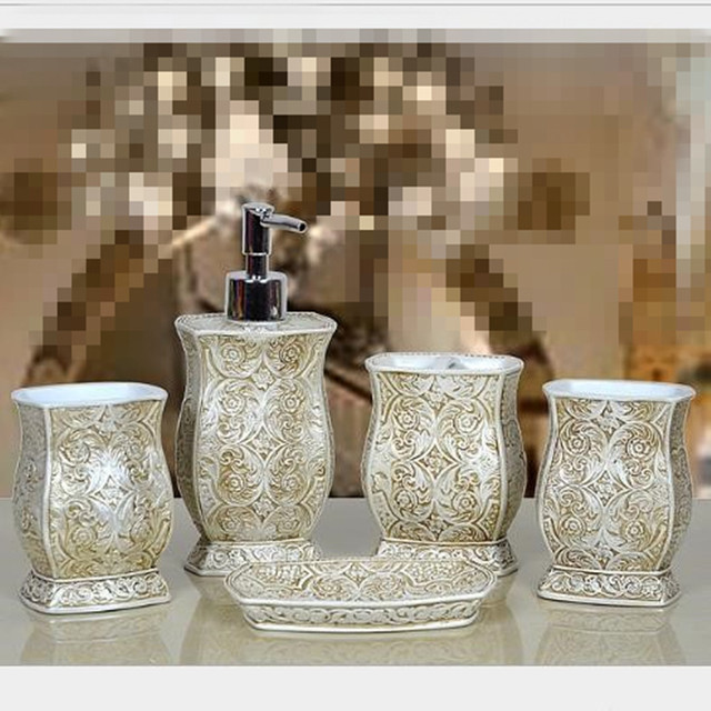 resin bathroom accessories set of five pieces nordic style vintage rh aliexpress com Vintage Palm Tree Bathroom Sets Apothecary Bathroom Set