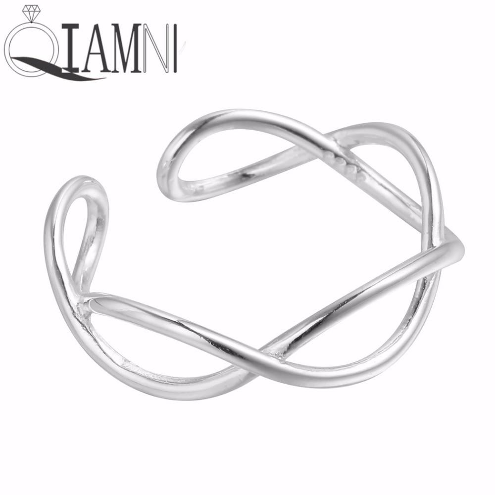 QIAMNI 925 Sterling Silver Trendy Geometric Cross Wave Finger Adjustable Open Ring for Women Girl Wedding Gift Christmas Jewelry