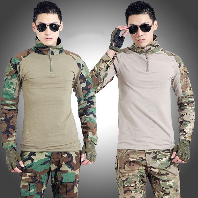 Leger Tactische Militaire Uniform Pak Lange Mouw Battle Strike Outdoor CS Uniformen Camouflage Combat Shirt + Broek - 5