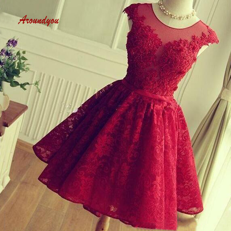 Sexy Red Short   Cocktail     Dresses   Lace Graduation Party Prom Grade 8 Graduation Homecoming   Dresses