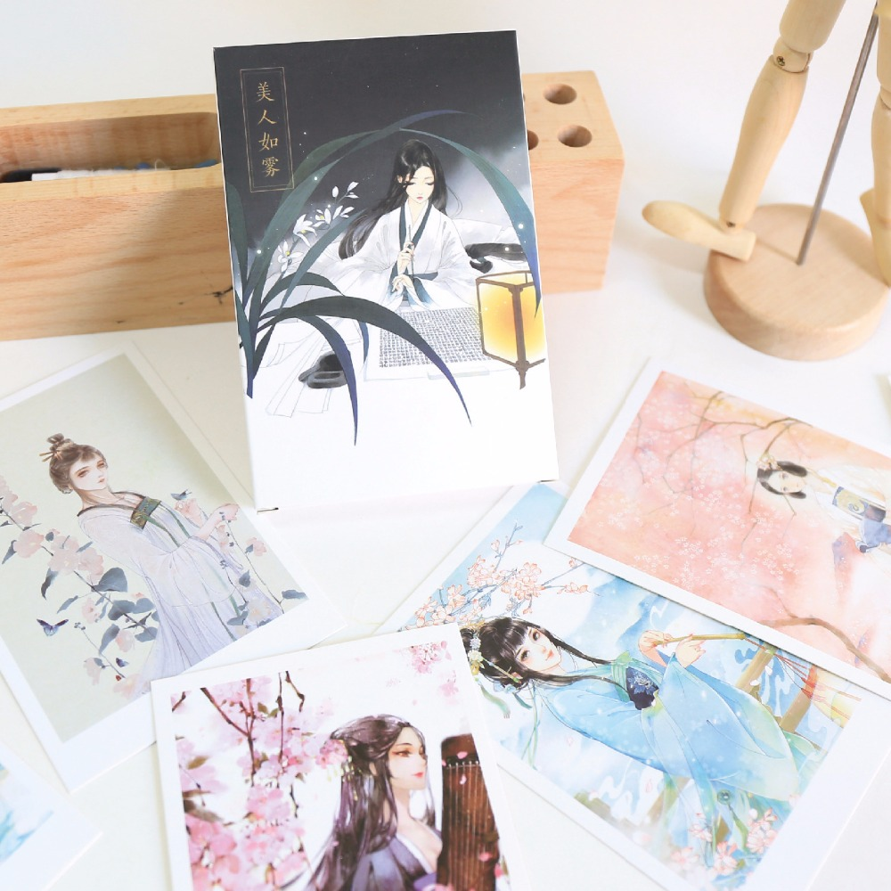 30 Sheets/Set Ancient Chinese Beauty Postcard/Greeting Card/Message Card/Birthday Letter Envelope Gift Card