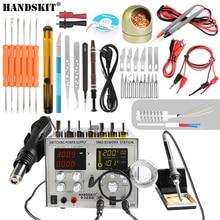 Handskit 110 V/220 V 電源 DC 5V 2A 4 で 1 30V 5A SMD ホットトエアガンリワークステーション + はんだごてステーションセット