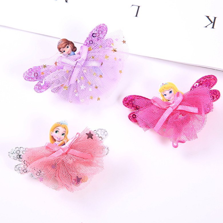 $1.99 - 1Pcs Disney Princess Theme gift Children Headwear Hair Clips   3