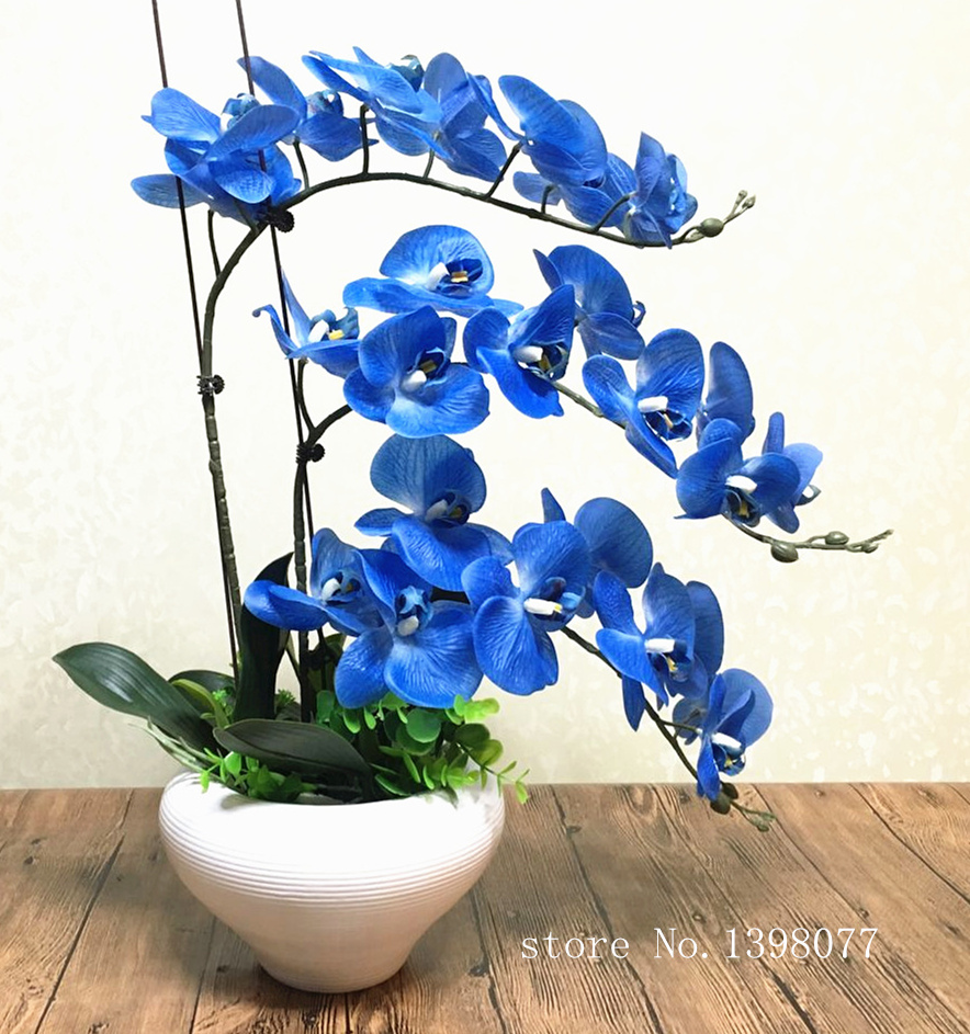 1 set blue Phalaenopsis arrangement artificial flower high quality orchid real touch home decoration floral art gift