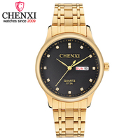 CHENXI Brand Luxury Men Business Golden Watch Man Calendar Quartz Wristwatch Male Gift Dress Clock Waterproof