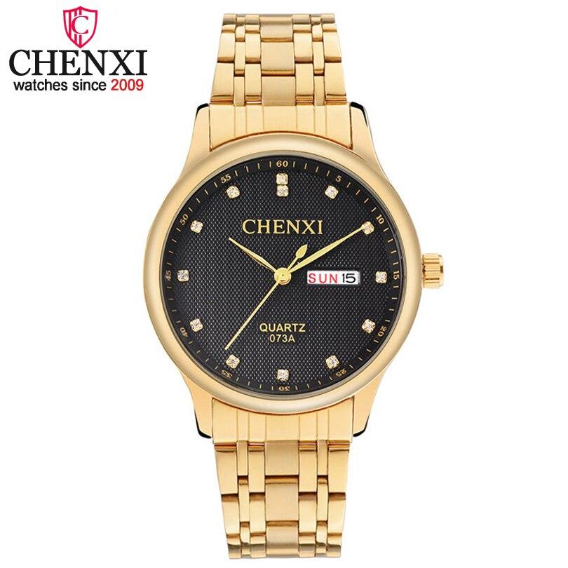 CHENXI Marque De Luxe Hommes D'affaires D'or Montre Homme Calendrier Montre À Quartz Mâle Cadeau Robe Horloge Étanche Relogio Masculino