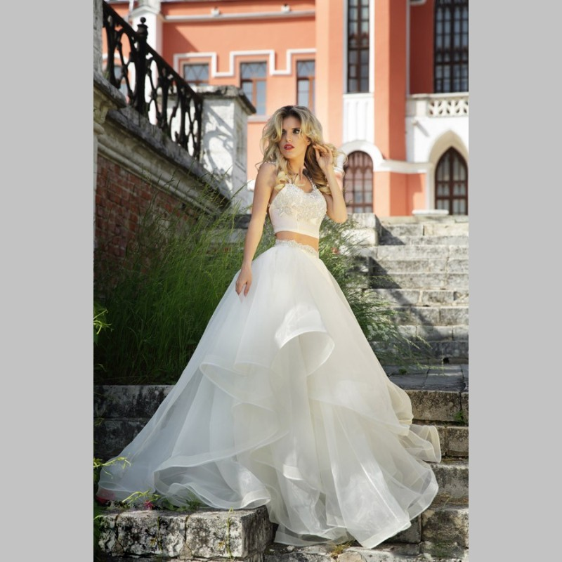 White Wedding Gown Styles: Latest Style Two Piece Wedding Dresses 2017 Organza