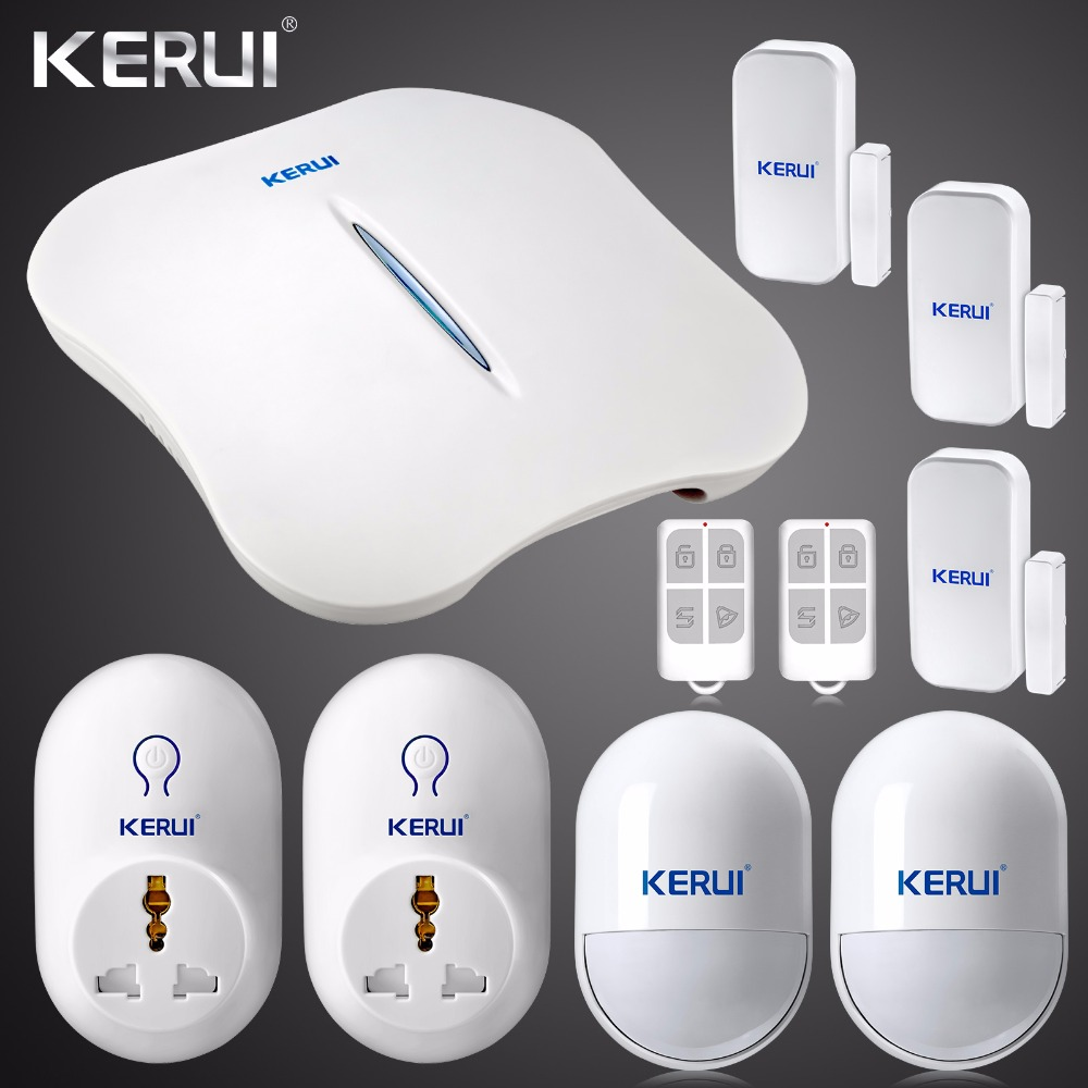 2017 New KERUI W1 WIFI Alarm System Home Burglar Security PSTN Intelligent Android IOS APP Control Wireless PIR Detector wireless gsm pstn home alarm system android ios app control glass vibration sensor co detector 8218g