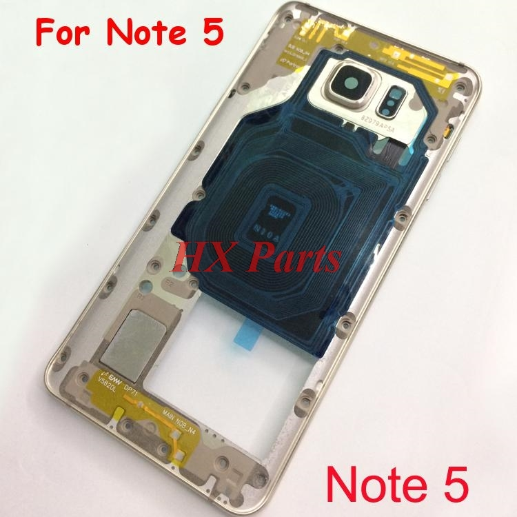 5 PCS For Samsung Galaxy Note 5 N920 Middle Frame Housing Bezel Front Chassis Frame With Side Buttons + Camera Glass Lens Parts