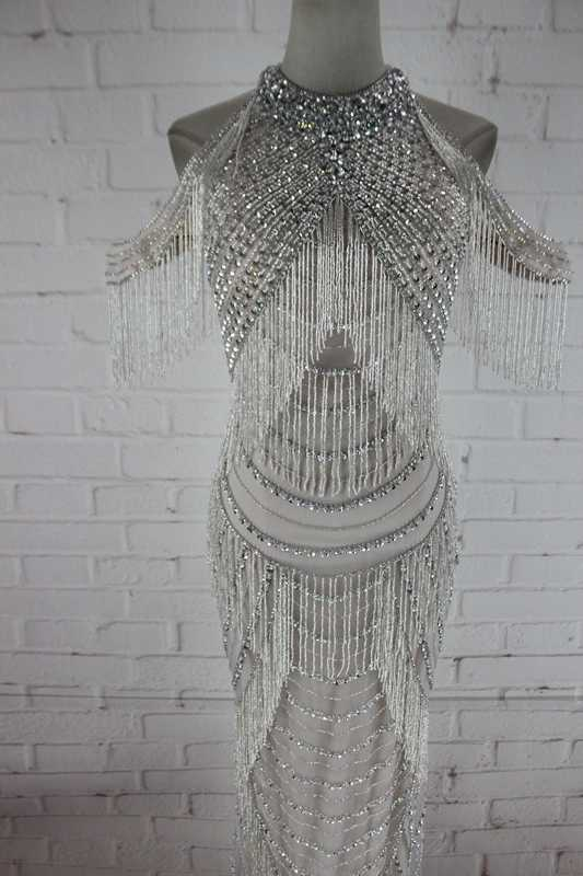 Sparkly Silver-gray Beaded Tassel  Long Dress Women Costume Prom Celebrate Dresses Sexy Nightclub Evening Wear  Dresses