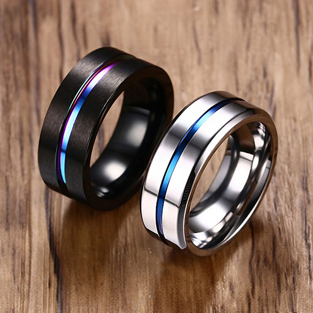 Black Silver Color Stainless Steel Rings for Men Rainbow Thin Line Rings Wedding