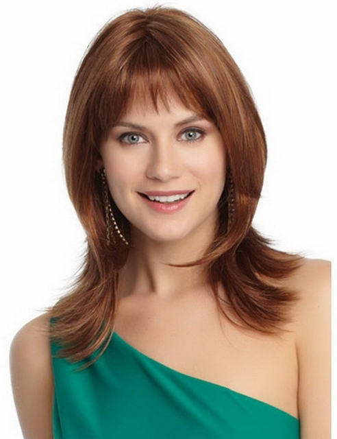 Free shipping 14inch fashion new sexy light brown wig, shoulder length natural hair wigs for women with thinning