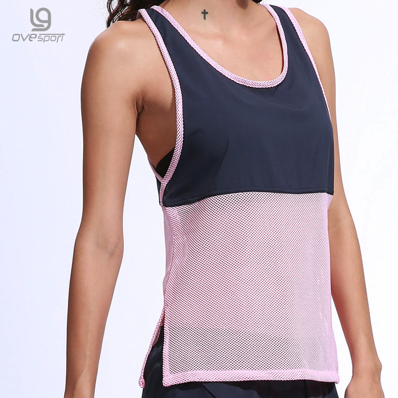 Summer Sleeveless   Tank     Top   Women Sporting Shirts Chiffon Patchwork Hollow Breathable Gyming   Tops   Fitness Female Quick Dry Shirts
