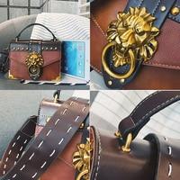 2018 Metal Lion Head Mini Small Square Pack Shoulder Bag Crossbody Package Clutch for Women Designer Wallet Handbags Fashion
