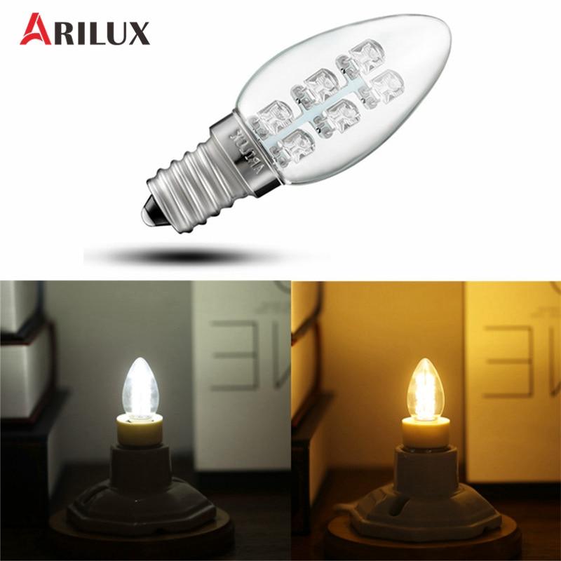 ARILUX E12/E14 0.5W 6 Leds Mini Candle Lamp Bulb Night Light Pendant Table Wall Lamp Pure/Warm White 120V/220V