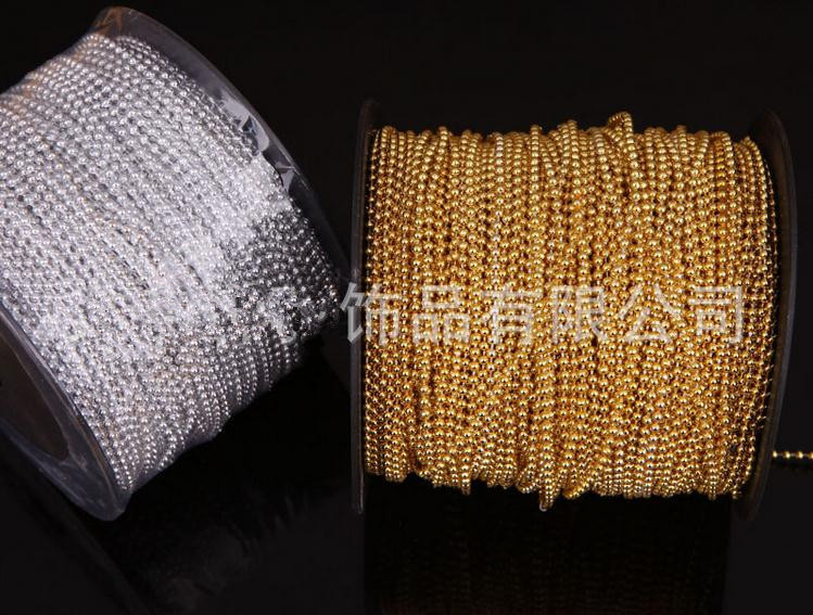 holiday supplies ,90meters/lot 3mm Gold, silver color string of beads pearl Beads Garland Wedding Centerpiece party <font><b>decoration</b></font> image