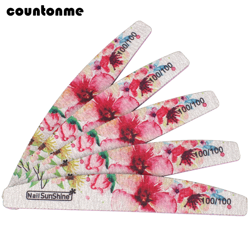 5Pcs Colorful Flower Nail File 100/100 Professional Nail Buffer For Manicure Acyclic Nail Art Tips Diamond Washable Thick Files