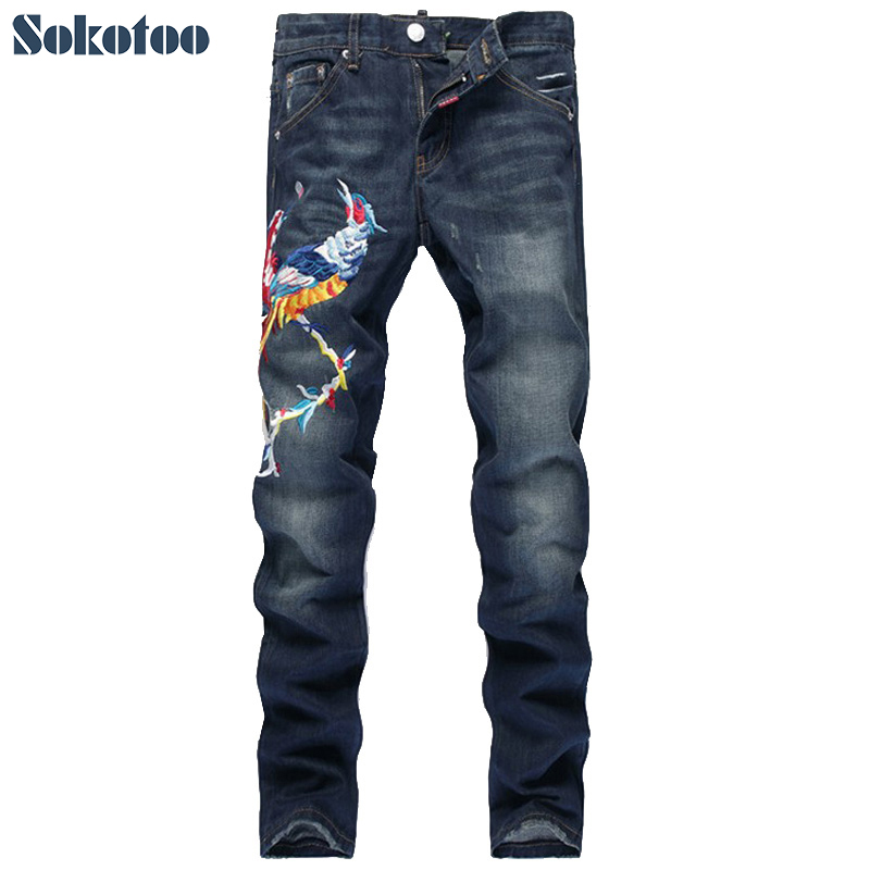 ФОТО Sokotoo Men's fashion phoenix bird embroidery jeans Male slim straight denim pants Long trousers