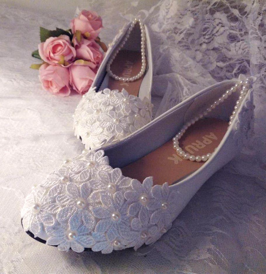 Talon bas chaussures de mariage femme à la main dentelle ivoire perles cheville perlage cheville douce dame pompes de fête de mariage chaussures femmes